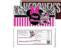 Hot Pink Minnie Mouse Birthday Candy Wrappers, INSTANT DOWNLOAD, DIY Party Printables, Minnie Zebra Print Party Favors, Minnie Supplies