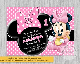 Cute Baby Minnie Mouse Birthday Invitations, Baby Minnie 1st Birthday Party Invitations, DIY Printable, Baby Minnie Party Supplies