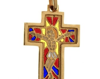 Very Antique 19.2k Gold Pendant Cross Stained Glass From Portugal