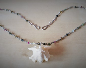 Bone, Tourmaline, Pearl, and Sterling Silver Necklace