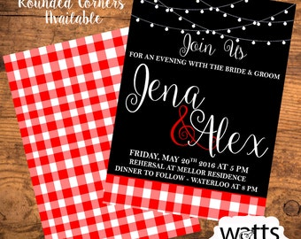 Wedding Rehersal Invitation - String Lights and Red & White Check. Printable Download or Printed!