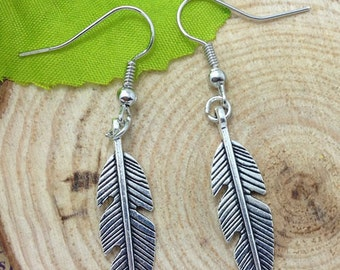 Small Feather Boho Silver Earrings FREE USA SHIPPING