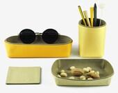 Set of 4 Items, Desk Organization - Pencil Holder, Storage Box, Tray, Coaster