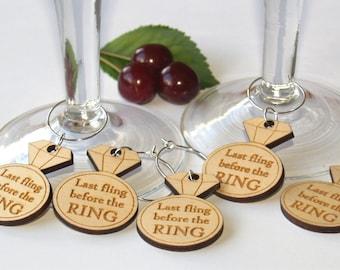 Bachelorette party wine charms, Last fling befor the ring, Bachelorette party favors, Bride Squad, Bridal shower, Bachelorette favors