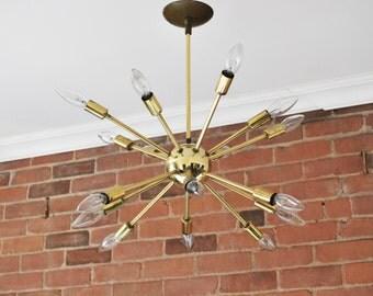 Mid Century Modern Starburst original 1950 brass Sputnik 16 fixture ceiling