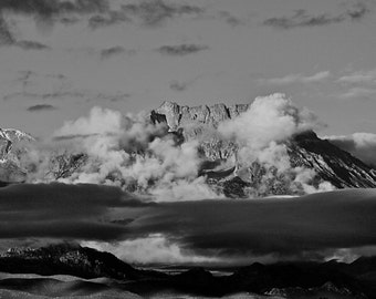 Southern Sierra Mountains Veiled by Clouds
