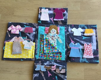 Flat doll,case, and clothing.  free shipping