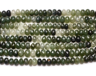 Green Rutilated Quartz Faceted Rondelle Beads