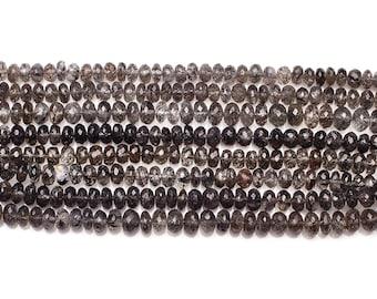 Black Rutilated Quartz Faceted Rondelle Beads