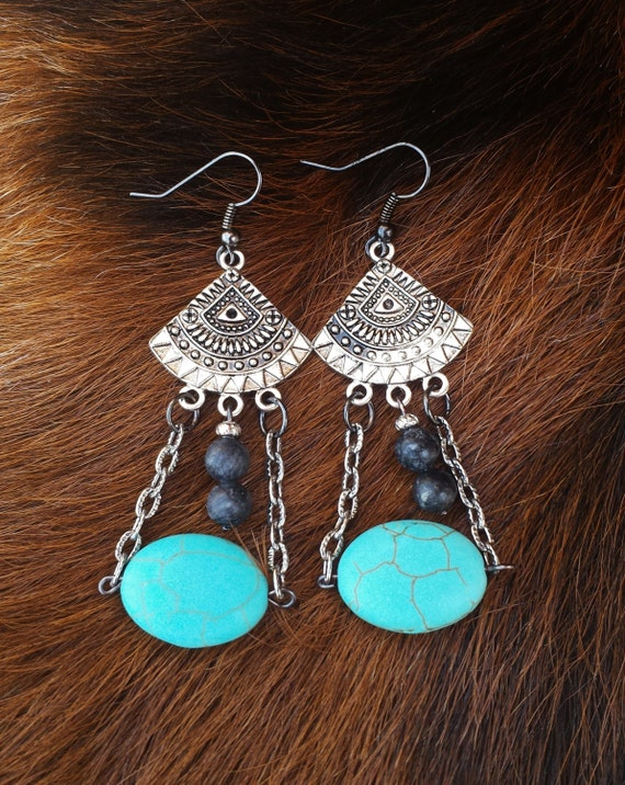 Western Style Antique Silver Dangle Earrings With Oval