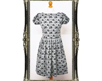 Vintage Inspired Retro Pug Print Tea Dress
