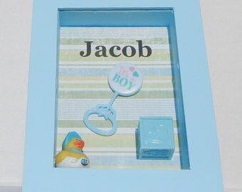 It's a boy wall decor nursery decor shadow box personalized decor boy decor baby boy decor blue color decor duck decor