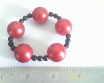 Boy's Stretchy Red and Black Bracelet