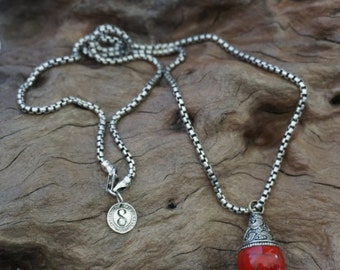 Silver snake chain with Nepalese antique pendant-Sugati 062