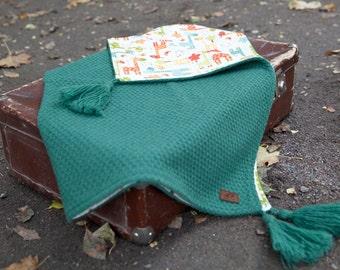 Happy Green + GIFT/ Woolbaby blanket  Newborn blanket / Knit baby blanket / Baby wrap / Summer baby blanket / Two side blanket/ Newborn gift