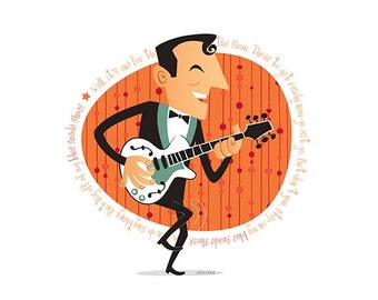 Carl Perkins, 50s Rock & Roll, Instant Digital download, Printable Illustration, pioneer of rock and roll, Rockabilly, Retro illustration