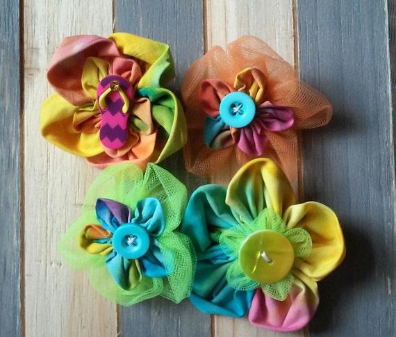 Flower Power Tye Dye Hair Flowers Hair By Carlycreationstore