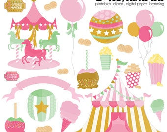 Carousel Carnival Digital Clipart - Personal & Commercial Use - Circus Clipart, Fair Fun Graphics, Girl Carnival Images