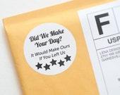 "Printable ""5 Star Review"" Circle Packaging Sticker Label Design (Black)"