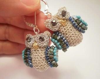 Blue Owls Earrings