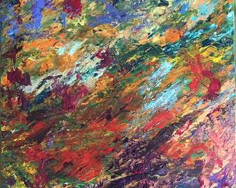 "Original mixed media on canvas; ""Transition"""