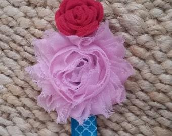 Blue patterned baby headband with chiffon and felt flowers