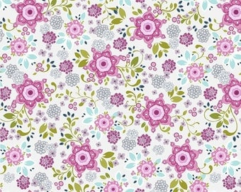 BTHY - #Laugh Love Quilt by Amy Hamberlin for Henry Glass, Pattern #9867-99 Pink, Beautiful Pink, Purple, Blue and Green Floral on White