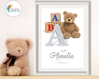 Personalised Nursery Print - Personalised Monogram - Personalised Baby Print - Your Name Print