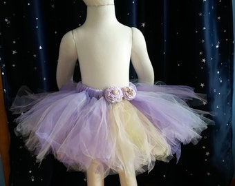 Lavender tutu skirt with twist and twist and twist flowers