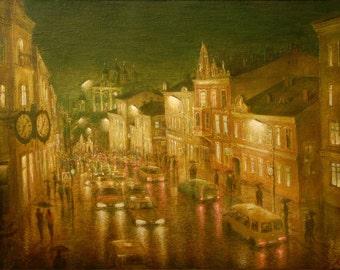 B. Blagoveshenskaya Street Evening - By V. Moskalenko Russian Original Oil Painting Canvas 42x38 inches