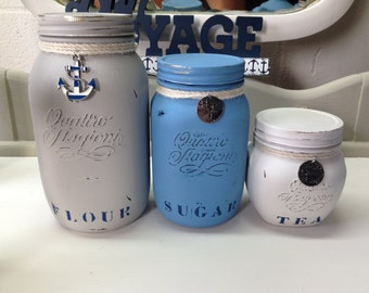 Nautical Mason Jar Canister Set, Chalk Painted, Distressed to perfection, shabby chic, Farmhouse***all 3 canisters included***