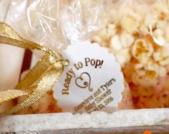 Baby shower favor tags, stickers, ready to pop, popcorn favors
