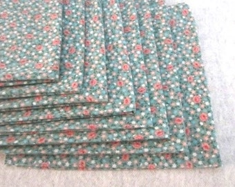 Vintage Floral Cotton Dinner Napkins Set of Eight
