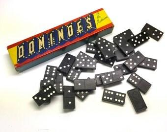 Vintage 'Halsam' Domino Set - Wooden tiles With Dragon Details