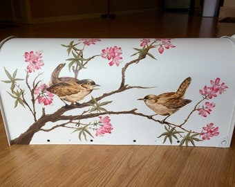 Personalized Mailbox - Hand Painted Birds & Tree Blooms