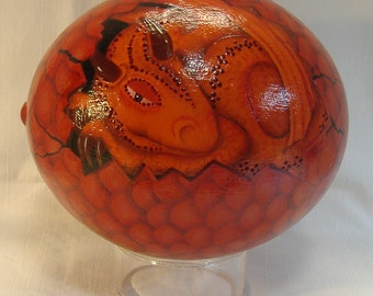 Red Dragon egg,   blown out ostrich