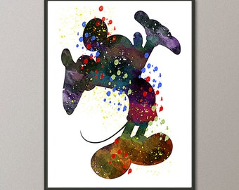 Mickey Mouse, Mickey Mouse Art, Mickey Mouse Print, Mickey Mouse Decor, Disney Wall Art, Disney Print, Watercolor Painting, Mickey Print