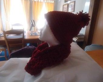 Handmade crocheted burgundy hat and scarf set