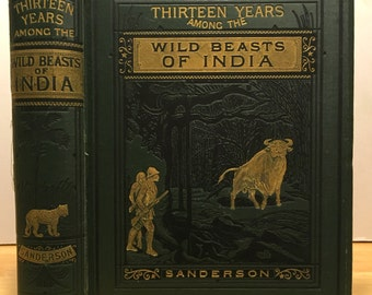 Vintage hunting book: Thirteen Years Among the Wild Beasts of India. Bear, tiger, water buffalo. Elephant taming & training. Old book