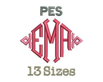 Point Diamond Monogram Font Embroidery Fonts - 13 Size Monogram Fonts PES File Format Machine Embroidery Font Design -  Instant Download