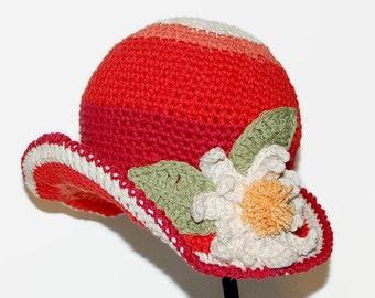 Crochet Girls Cotton Cloche Hat, Children Winter Apparel, Girls Flowered Hat, Little Girl Cloche Hat FLOWER HAT