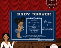 Denim and Diamonds Afro-American Baby with Bling Baby Shower Invitation
