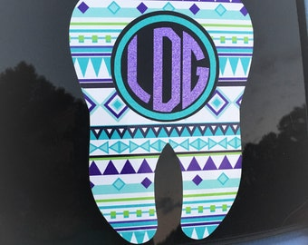 Tooth Monogram Car Decal - Printed Tooth Monogram Decal - Aztec Tooth Initial - Monogram Tooth Car Decal - Monogram Patterned Tooth Decal