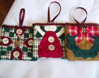 Set of 3 Fabric Christmas Ornaments #1