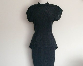 1980s New Edition Black Peplum Dress Vintage