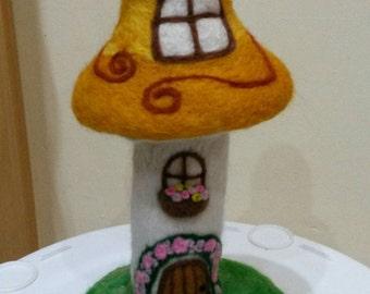 Needle felted fairy toadstool house