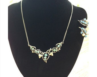 Vintage Coro Blue Rhinestone and Faux Pearl Necklace and Earrings