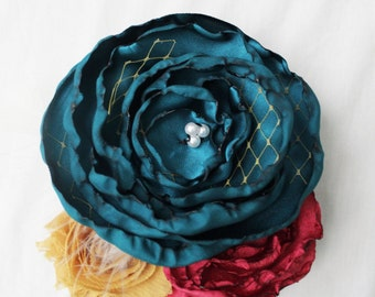 Teal, Mustard Yellow, and Pink Fabric Flower Brooch