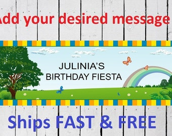 Nature rainbow birthday banner Custom Banner 6 Feet Long by 24 inches wide Free Shipping