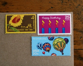 Happy Birthday! Vintage unused postage stamps for 5 letters
